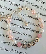 Girls personalised  bracelet bridesmaid/christening/first holy communion gift.