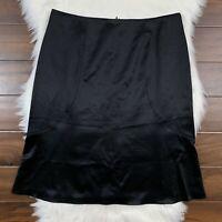 Barbara Lohmann Women's Size 46 / US 10 Black Wool & Silk Straight Pencil Skirt