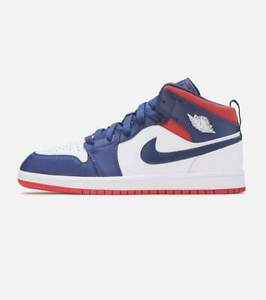 Jordan 1 Kids Youth Mid SE White Red Navy Olympic Shoes Rare BQ6932-104 Size 2