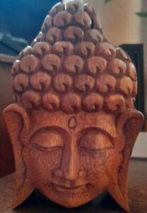 Handmade Wooden Buddha Head Puzzle Trinket Bali Box Secret Compartment