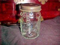 Vintage Hersheys Chocolate Glass  Candy Jar With METAL Lid Advertising