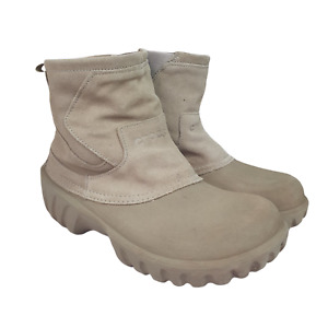 Crocs Boots Mens 10 Womens 12 Suede Upper Faux Fur Lined Winter Snow Brown