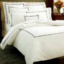 Sferra Grande Hotel King Duvet Set Ivory/Black Stripes Resort Cotton Italy NEW