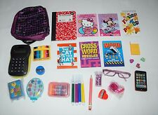 "DOLL SCHOOL SUPPLIES BACKPACK 23 PC 18"" AMERICAN GIRL DOLL CLOTHES ACCESSORIES"