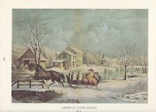 "1974 Vintage Currier & Ives COUNTRY LIFE ""WINTER MILK DELIVERY"" COLOR Lithograph"