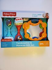 Baby Infant Gift Set Tambourine Maracas Rattles by Fisher Price Musical Toys New
