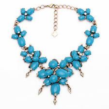 Brand Oval Cabochon Necklace Turquoise Cluster Boho Statement Designer Jewelry