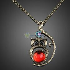 Hot Fashion Vintage Ruby Jewelery Rhinestone Studded Owl Pattern Long Necklace