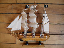 "Wood pirate ship full sails 9"" high by 9"" long"