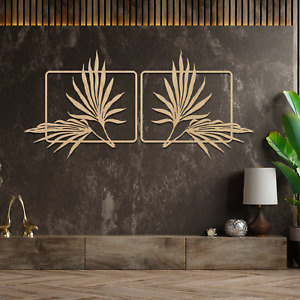 063 Palm Leafs 2 panels Wooden MDF Hanging Wall Art Decor Gift Idea Decoratrion