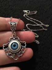 Eye Necklace Eyeball Cameo Cabochon Lucky Charm Protection Gothic Horror Unusual
