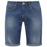 Mens Firetrap Denim Shorts Zip New