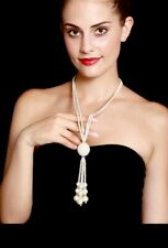 GATSBY 20s Zara STYLE TASSLE PEARLS LONG  LAYERED Crystal DIAMOND NECKLACE
