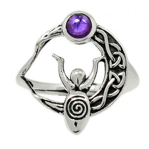 Celtic Goddess Moon - Amethyst - African 925 Silver Ring Jewelry s.8 BR91849