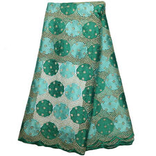 Water Green African French Net Lace Embroidery w/Beads Mesh Voile Guipure Fabric
