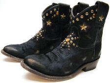 WOMENS ASH SHORT FUR STUDDED STAR BLACK COWBOY WESTERN BOOTS SZ 36 USA 6 M