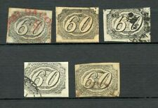 BRAZIL EMPIRE INCLINADOS SCOTT# 9 RHM# 6 FINELY USED LOT OF 5 EXAMPLES AS SHOWN