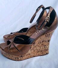 Christian Dior Gold Bronze Platform Cork Wedge Sandal Shoe Women Size 38 $490