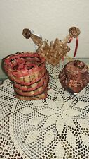 NORTHWEST COAST HAND WOVEN MINIATURE BASKETS, 1 PAINTED WITH ORCA MOTIF +