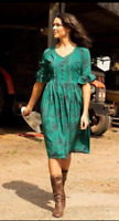 Lindy Bop 'Francy May' Green Floral Vintage Landgirl Boho Tea Day Dress BNWT