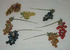 Lot Decorative Artificial Faux Fake Food Fruit Small VTG Grapes Purple Green HK