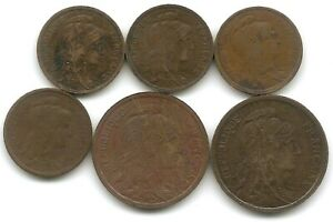 France Lot of 6 1 Centime & 2 Centimes Coins 1901 - 1916