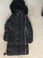 Soia & Kyo Fox Fur Trim Hooded Bib Down Coat Puffer XS black