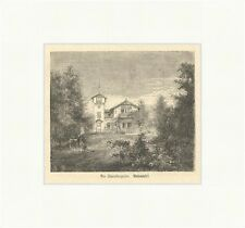 Am Starnbergersee. Roseninsel Holzstich Deutsches Reich Bayern Garten E 1859