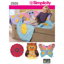 Simplicity SEWING PATTERN 2935 Rag Quilts,Butterfly,Owl,Flower Designs