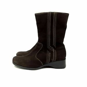 Clarks Dark Brown Leather Mid Calf Boots Square Toe Zip Up UK 5.5