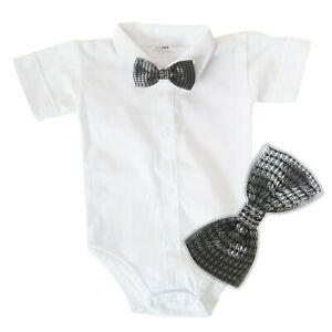 Baby Boys Bodysuit Shirt GREY BOW Outfit Special Occasion Christening Wedding