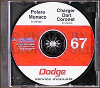 1967 Dodge CD Shop Manual Coronet Charger Dart Polara Monaco Repair Service RT