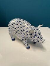 New ListingVintage Pig Porcelain Figurine Andrea By Sadek Blue White Fishnet Hand Painted