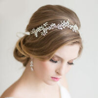 Elegant Pearl Wedding Hair Vine Crystal Bridal Accessories Diamante Headbands