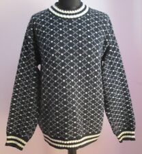 VTG Ladies Unbranded Navy/White Crew Neck Patterned Acrylic Jumper Size L (A79)
