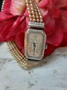 Vintage Antique Art Deco Blancpain Ladies Watch ~ RARE Pearl Bracelet Band