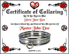 BDSM Certificate of Collaring Rare Marriage Slave Bondage Whip Goth Wedding Rope