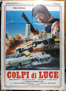 manifesto 2F film COLPI DI LUCE Erik Estrada Enzo G. Castellari 1985 auto