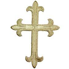 Gold Fleur De Lis Cross Applique Patch (Iron on)