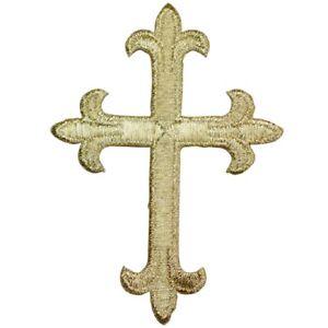 "Cross Applique Patch - Metallic Gold, Christian, Jesus Badge 4"" (Iron on)"