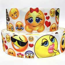 "Grosgrain Ribbon 7/8"" Emoji Faces Ej6 Printed Usa Seller"