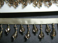 Grey Beaded Fringe/Trim TOP QUALITY 45% GLASS  Sewing/Costume/Crafts/Corsetry