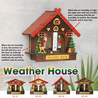"""4"""" Wood Weather House Chalet Barometer Thermometer Home Hygrometer"""