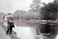 SF 583 - Gentleman Fishing On The River Gipping, Ipswich, Suffolk c1907 Photo