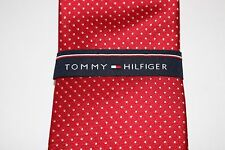 NWT TOMMY HILFIGER Men's Red White Micro Dot 100% Silk CLASSIC Neck Tie OS