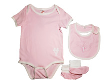 *NWT-  BABY GIRL'S TX LONGHORN 3-PC BIB, BOOTIE & CREEPER SET - OFFICIAL - 24M