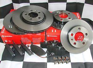 Bremsscheiben + Beläge vorne + hinten Mercedes W208 CLK + Cabrio 1 Stift Brembo