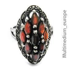 Silber Ring Granat Markasiten Art Deco Stil style silver ring garnet marcasites