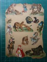 Vintage Scrap Book Page 15+ Cut outs 2 sided Red Riding Hood Wolf Lion Indians
