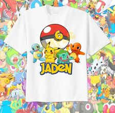Pokemon POKEBALL Custom t-shirt Personalize Birthday squirtle, pikachu Bulbasaur